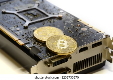 Phisical Gold Bitcoin with modern PC Graphic Card