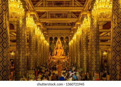 PHITSANULOK - 11 march 2019 : The most beautiful buddha sculpture in Phitsanulok, , Phra Buddha Chinnarat is the most beautiful and the large gold buddha sculpture in Phitsanulok, Thailand