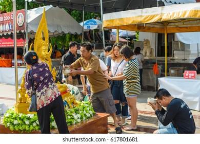 Phitsanulok - April 9,2017 Wat Phra Sri Ratana Mahathat Woramahawihan Songkran Festival