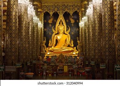 PHITSANULOK - JUNE 17,2015 : The most beautiful buddha sculpture in Phitsanulok, , Phra Buddha Chinnarat is the most beautiful and the large gold buddha sculpture in Phitsanulok, Thailand.