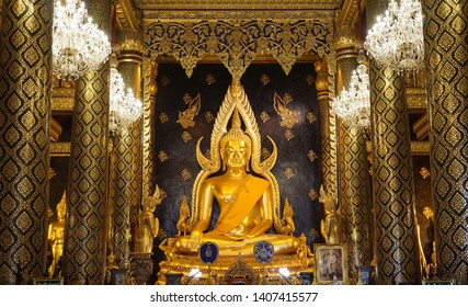 Phitsanulok Province, Thailand - 18 November 2019: People pay homage to  The Buddha of the Golden Buddha in the church Wat Phra Si Rattana Mahathat