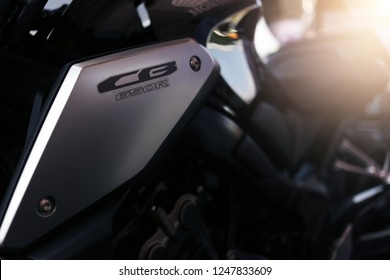 Phitsanulok province, Thailand - December 1, 2018: Close up logo CB650R 2019 new model of Honda motorcycle in Phitsanulok motor show 2019.