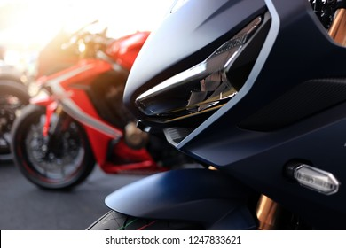 Phitsanulok province, Thailand - December 1, 2018: Closeup headlight Honda CBR650R new model 2019 sport big bike at event Phitsanulok motor show 2019.