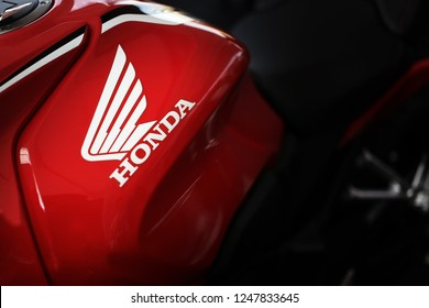 Phitsanulok province, Thailand - December 1, 2018: Close up logo Honda on motorcycle.