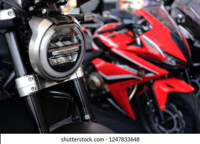 Phitsanulok province, Thailand - December 1, 2018: Close up headlight CB650R 2019 new model of Honda motorcycle in Phitsanulok motor show 2019.