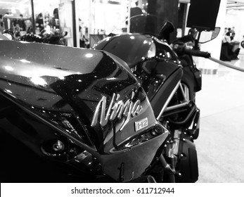 Phitsanulok province, Thailand - March 16, 2017: Close up logo Kawasaki Ninja H2 New Model super bike in Phitsanulok Motor show 2017 black and white.