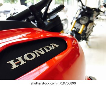 Phitsanulok province, Thailand - September 21, 2017: Close up logo of new model Honda cb150R 2017 at showroom dealer Honda motorcycle Phitsanulok.