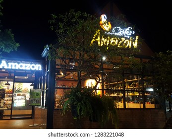 Phitsanulok Province ,Thailand-December 26 : Café Amazon cafeteria and restaurant, New branch at Phitsanulok Province : Cafe Amazon coffee is a famous coffee company in Thailand.Soft focus,Select focu