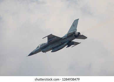 Phitsanulok Province,Thailand- 12 January ,2019 -Thai Royal Air force fly F-16 jet plane for fly show in children day by Thai Royal Air force area