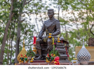 Phitsanulok Province,Thailand -2019, 8 May, The Signal King Narasuan of Thailand in Sukhothai more than 700 year old ,stay on public temple for people pray