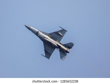 Phitsanulok Province,Thailand- 2019-12 January -Thai Royal Air force fly F-16 jet plane for fly show in children day by Thai Royal Air force area