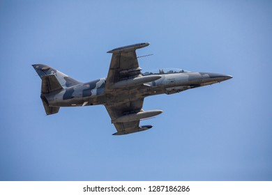 Phitsanulok Province,Thailand- January 12 ,2019 :Thai Royal Air force fly L-39 za/art jet plane for fly show in children day by Thai Royal Air force area