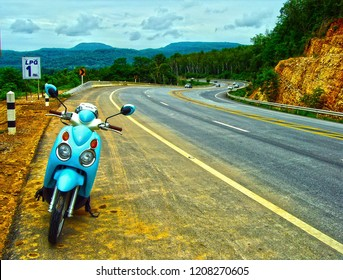 Phitsanulok Province/Thailand-July 26, 2015: Suzuki Jelato on Route 12 ( Phitsanulok -Lomsak ), which many famous tourist attraction