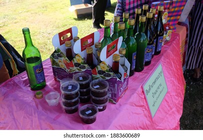 Phitsanulok, TH - December 23,2020: Agricultural products made from fruit are made into beverages, wine of the villagers at agricultural expo.