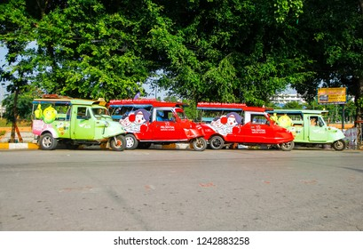 Phitsanulok, Thailand, 19 October 2018: Tuk Tuk is a tourist taxi traditional three wheel car in Phitsanulok