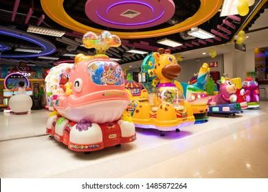Phitsanulok, Thailand 20 Aug 2019:Kid zone at Lotus superstore,Skippy Land is the Arcade game Zone with karaoke and children playground corner