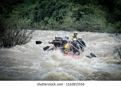 "Phitsanulok ,Thailand - 28 July 2018 : One group is rafting at  ""Keg"" river. Very strong Activities are played in the rainy season."