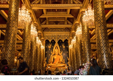 Phitsanulok, THAILAND - April 09, 2018: Thai buddhist make a pilgrimage to buddha statue in Wat Phra Sri Rattana Mahathat Temple, Name is Phra Buddha Chinnarat, Phitsanulok in Thailand.