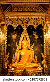 Phitsanulok - Thailand, April 09,2018 : Buddha statue in Wat Phra Sri Rattana Mahathat Temple, Name is Phra Buddha Chinnarat, Phitsanulok in Thailand.
