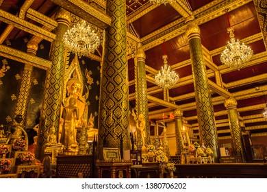 Phitsanulok, THAILAND - April 10, 2019: Buddha statue in Wat Phra Sri Rattana Mahathat Temple, Name is Phra Buddha Chinnarat, Phitsanulok in Thailand.