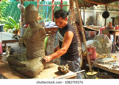 Phitsanulok, Thailand - April 8, 2012: Buddha sculpture is in progress at foundry buddha statue factory