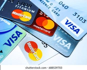 PHITSANULOK, THAILAND AUGUST 1, 2017 - Visa card, ATM card, Mastercard.