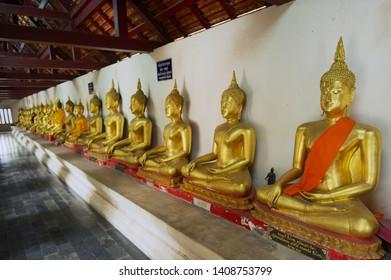 Phitsanulok, Thailand - August 23, 2011: Buddha statues at Wat Phra Sri Rattana Mahathat Temple in Phitsanulok, Thailand.