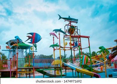 Phitsanulok, Thailand - August 4, 2019 -The Splash fun water park at Phitsanulok, Thailand