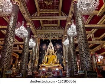 Phitsanulok - Thailand - december 14 2018: Phra Phuttha Chinnarat Buddha Image one of the most beautiful Buddha in Thailand at Phra Si Rattana Mahathat Temple  in Phitsanulok, Thailand