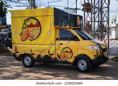 PHITSANULOK, THAILAND - DECEMBER 15, 2018: Mangoes  with dipping, delicious  truck sale  Phitsanulok province, Thailand
