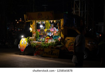 PHITSANULOK, THAILAND - DECEMBER 15, 2018: Mangoes  with dipping, delicious  truck sale at night of Phitsanulok province, Thailand