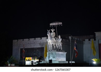 PHITSANULOK, THAILAND - DECEMBER 15, 2018: Monument King (Phra Phutthayotfa Chulalok) Rama I at night in Phitsanulok province, Thailand