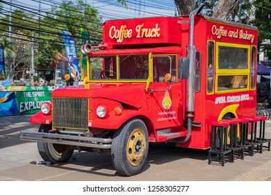 PHITSANULOK, THAILAND - DECEMBER 15, 2018:The coffee and bakery truck in front in Phitsanulok province, Thailand