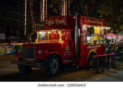 PHITSANULOK, THAILAND - DECEMBER 15, 2018:The coffee and bakery truck in front  at night of Phitsanulok province, Thailand