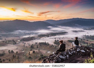 PHITSANULOK, THAILAND - December 18, 2016 :Sunrise and sea of mist at Kao PokLon Viewpoint at  Nakhon Chum,Phitsanulok. province ,North of Thailand.