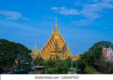 PHITSANULOK, THAILAND - DECEMBER 24, 2018: Beautiful Wat Chan Tawan Tok  in Phitsanulok province, Thailand