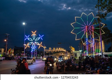 PHITSANULOK, THAILAND - DECEMBER 30, 2018:  The color of the lights on the Road at night in Phitsanulok province, Thailand