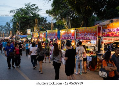 PHITSANULOK, THAILAND - DECEMBER 30, 2018:  People are doing shopping at night market in Phitsanulok province, Thailand