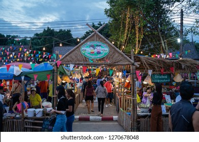 PHITSANULOK, THAILAND - DECEMBER 30, 2018:  People are doing shopping at Retro market in Phitsanulok province, Thailand