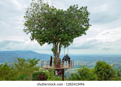 Phitsanulok, THAILAND - December 30, 2018: View of big giant heart tree, have people swing in Phitsanulok Province,Thailand.