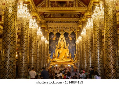 Phitsanulok, Thailand - December 30, 2018: Phra Buddha Chinnarat statue in chapel at Wat Phra Sri Rattana Mahathat (Wat Yai) Temple, one of most beautiful Buddha statue in country.