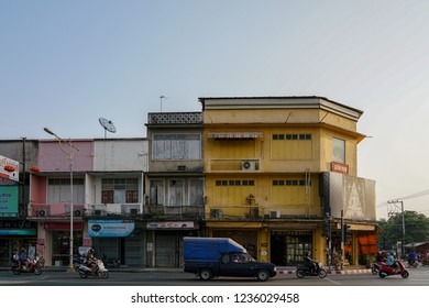 Phitsanulok, Thailand - FEB 9 2018: View of old town building area, Phitsanulok Province, Thailand.