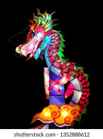 PHITSANULOK, THAILAND - February 21, 2019: Colorful illuminated dragon paper lantern is on display at the Chinese Lantern Festival 2019, Phitsanulok, Thailand.