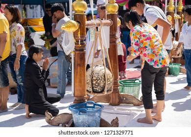 PHITSANULOK, THAILAND - JANUARY 1, 2019:  people  Come to worship  (Luuk Nimit) Boundary stone burying for the consecration temple ceremony in Phitsanulok province, Thailand