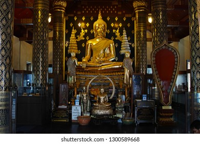 Phitsanulok, Thailand - January 29, 2019 : Replica of Phra Phutthachinnasi the principle and beauty Buddha Statue in temple of Wat Phra Si Rattana Mahathat, Phitsanulok