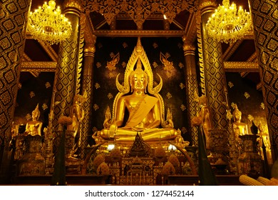 Phitsanulok, Thailand - January 3, 2019 : Phra Buddha Chinarat, Buddha statue which is regarded as the most beautiful in Thailand, located in Wat Phra Si Rattana Mahathat Temple, Phitsanulok, Thailand