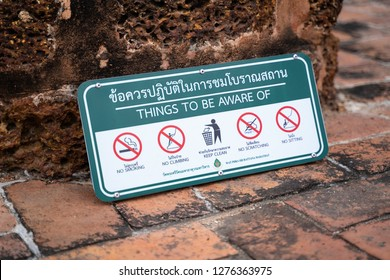 PHITSANULOK, THAILAND - JANUARY 6, 2019:  label  things to be aware  in Wat Phra Si Rattana Mahathat also colloquially referred to as Wat Yai in Phitsanulok Province,Thailand.