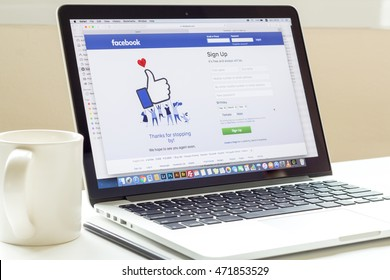 Phitsanulok, Thailand - JULY 11, 2016: Facebook signup web page on pc computer laptop screen. Facebook is the most famous social website all over the world.