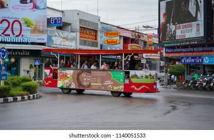 PHITSANULOK, THAILAND - JULY 23, 2018: Tram car send and receive traveler people tour around  in Phitsanulok province, Thailand