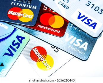 PHITSANULOK, THAILAND JULY 24, 2017 - Card, Visa Card, Master Card.Currently used in the present.